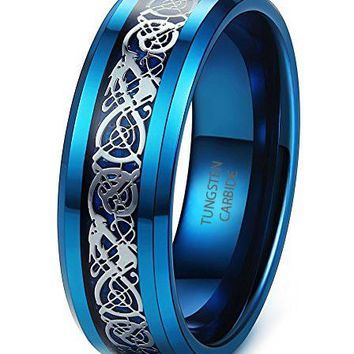 8mm Tungsten Carbide Rings Wedding Engagement Band Dragon Blue Beveled Edge