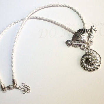 Seahorse Shell Nautilus Pendant  Beach Jewelry Antique Silver Summer Necklace