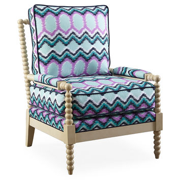 Taylor Burke Home, Gregg Park Chair, Navy/Pink, Accent & Occasional Chairs