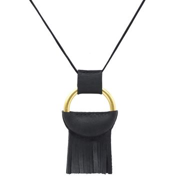 Half Leather Wrapped O Ring Necklace