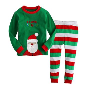 Kids Boys Girls Christmas Pajamas Toddler Santa Claus Sleepwear Clothes Set Child Xmas Nightwear Children New Years Pyjamas