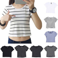 Fashion Women Casual Top Blouse Lady Sexy Slim Crop Top Tank T-Shirt Sportwear