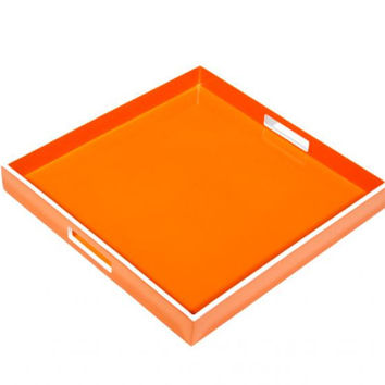 Orange with White Trim Lacquer Tray 16 x 16