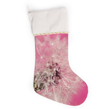 "Beth Engel ""Pink Twilight"" Magenta Dandelion Christmas Stocking"