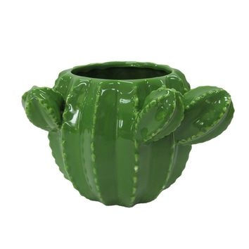 "Green Dolomite Ceramic Cactus Planter Vase - 4"" Tall"