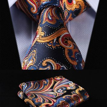 "Men's Ties 3.4"" 100%silk Wedding Woven Pocket Square Set suite"