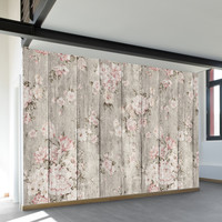Wood Texture Floral Wall Mural