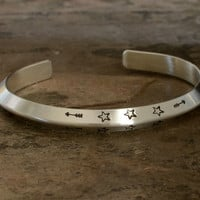 Triangular solid sterling silver cuff bracelet with engraving