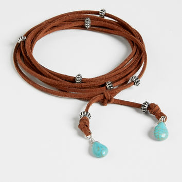 faux suede wrap bracelet or necklace in brown | maurices