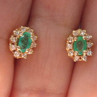 Vintage Diamond & Natural Green Emerald Cluster Lever Back Earrings 14k Gold Halo Flower Settings May Birthstone Mothers Day Gift Idea