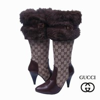 GUCCI Women Fashion Leather Fur Tube in Boots Heels Shoes