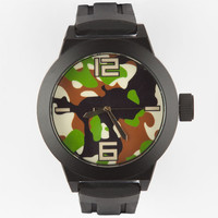 Geneva Rubber Camo Face Watch Green One Size For Men 25189450001
