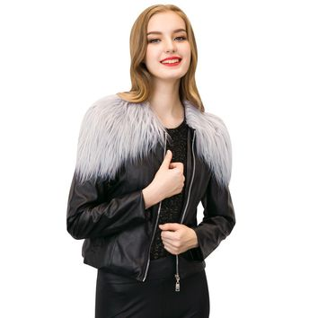 2017 Winter Ladies Black Leather Zipper Jacket Patchwork Faux Leather Womens Bomber Jackets And Coats Chaquetas Mujer