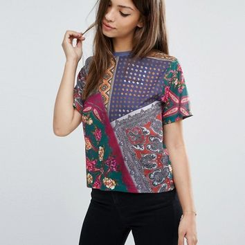 ASOS Crop T-Shirt In Scarf Print at asos.com