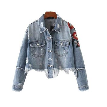 Jacket Women New Fashion Turn-down Collar Long Sleeve Coat Frayed Floral Embroidery Short Denim Outwear