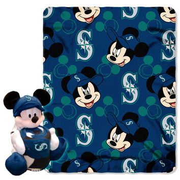 "Mariners OFFICIAL Major League Baseball & Disney Cobranded, Mickey Mouse Hugger Character Shaped Pillow and 40""x 50"" Fleece Throw Set  by The Northwest Company"