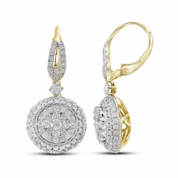 14kt Yellow Gold Women's Round Diamond Flower Cluster Dangle Leverback Earrings 2-1-5 Cttw - FREE Shipping (USA/CAN)