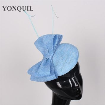 High sale 17 colors light blue fascinator with Ostrich pole sinamay fascinators hats women wedding hair accessories occasion hat