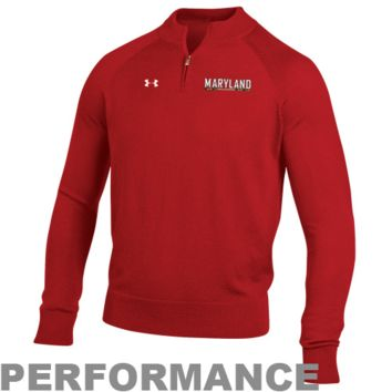 Under Armour Maryland Terrapins Classic AllSeasonGear Quarter Zip Performance Sweatshirt - Red