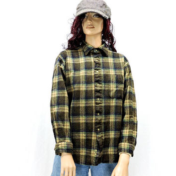 Vintage Pendleton wool shirt / size M / 70s Pendleton plaid wool brown board shirt / 1970s plaid flannel wool shirt / made in USA