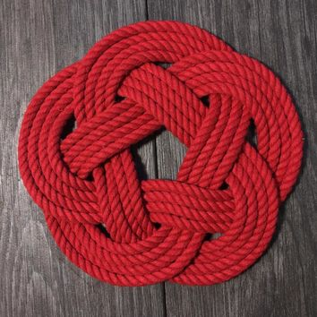 Nautical Sailor Knot Trivet, Red Cotton Rope, Small