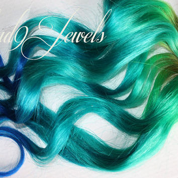 Mermaid Clip In Hair Extensions Ombre Hair  Tie by Cloud9Jewels