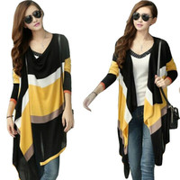 Women Long Cardigans Spring Coat 2017 Colorful Stripes Knitted Sweater  Outerwear Gilet  Casual D314