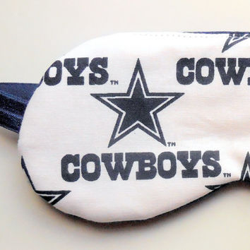 Dallas Cowboys Sleep Mask -White Navy Blue Stars - Soft Dark Navy Cotton Knit Back - NFL Football - Women Teen Girl Eyemask Sleepmask