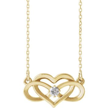 Ethically Mined Natural Diamond Accented Infinity-Inspired Heart Necklace