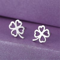 925 Silver Lucky Clover Stud Earrings With Cut Crystal +Gift Box