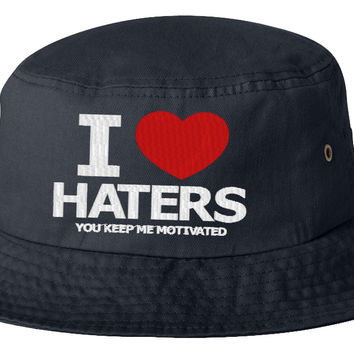 i love hater bucket hat