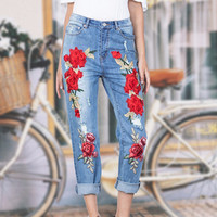 Red Rose Embroidered Jeans