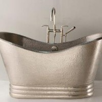 "Aurora Hand Hammered Copper Slipper Bathtub Finish / Size: Brushed Nickel / 60"" x 29"" x 30"""