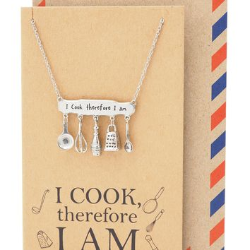 Skylar Gifts for Mom, Dad, Chef Personalized Cooking Jewelry Charm Necklace