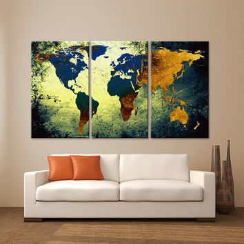 "LARGE 30""x 60"" 3 Panels Art Canvas Print World Map Texture Abstract Blue yellow orange Wall Decor home office interior  ( framed 1.5"" depth)"