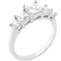 5-stone Anniversary Ring In Silvertone, size : 08