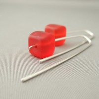Matte Red Cube Czech Glass Sterling Silver Sleek Fresh Modern Dangle Earrings | The Silver Forge Handcrafted Jewellery