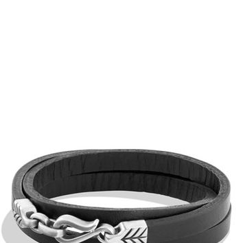 David Yurman 'Petrvs - Chevron' Triple-Wrap Bracelet in Black Leather