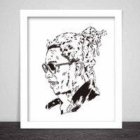 Young Thug Art Poster (3 sizes) // Slime season barter 6 thugger stoner cesar the ape