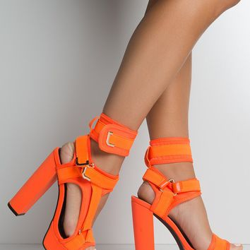 Double Buckled Straps High Platform Heel Faux Leather Cushioned Lining Curved Opened Toe Sandal in Orange, Black