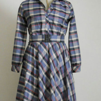 Preppy Dress 80s / Nerdy Button Up Plaid Belted Long Sleeve Collared Shirt Day Career Secretary Dress with Full Skirt / Size Large 11 12