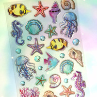 sea world sticker underwater theme sea shell jellyfish Epoxy sticker little gold fishes seahorse seashell starfish deep blue sea sticker