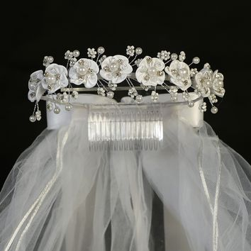 Satin Flowers & Beaded Floral Sprigs Crown Veil Headpiece First Holy Communion (Girls)