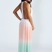 Sue Strappy Back Open Front Dip Dye Maxi Dress