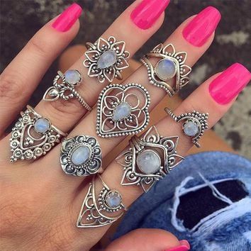 9pcs/Set Vintage Punk Antique opals Flower Carved Midi Finger Rings For Women Bohemian Knuckle Ring Set Jewelry Anillos