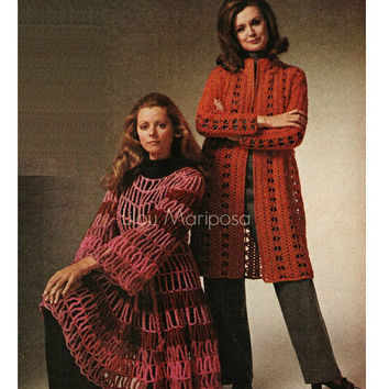 Crochet Pattern Vintage 70s Crochet Coat Pattern Jacket Pattern Crochet CARDIGAN pattern Instant Download