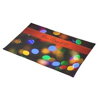 Multicolored Christmas lights. Add text or name. Cloth Placemat