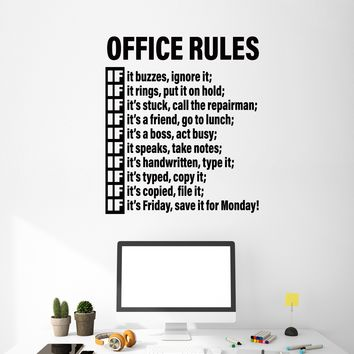 Vinyl Wall Decal Office Rules Room Space Decoration Idea Decor Art Stickers Mural (m755)