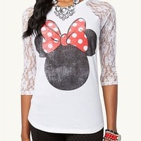 Minnie Mouse Lace Raglan Top | Graphic Tees | rue21