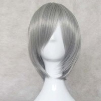 Dream2reality Cosplay_Soul Eater_STEIN&EVANagisa Kaworu&Bleach_slim face_35cm_silver gray_Japanese kanekalon wigs